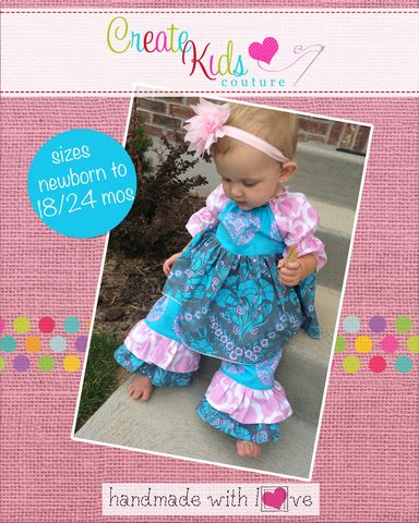 Baby Nicolette's Boutique Double Ruffle Pants PDF Pattern