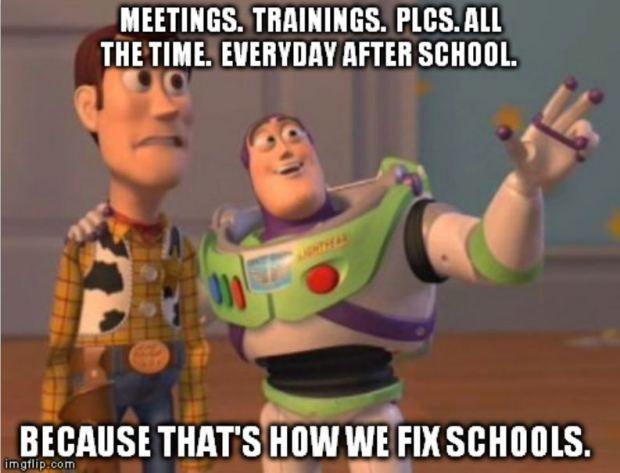 Teacher Humor Meme Meetings, Trainings, PLCS, and Trainings Everywhere
