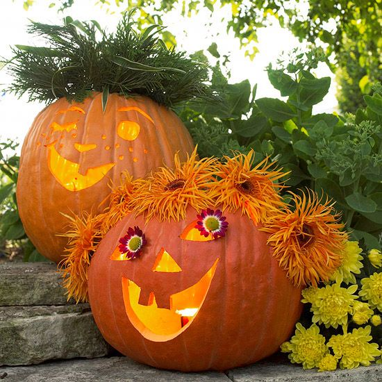 Funny Pumpkin Carving Ideas: Funny Floral Pumpkins