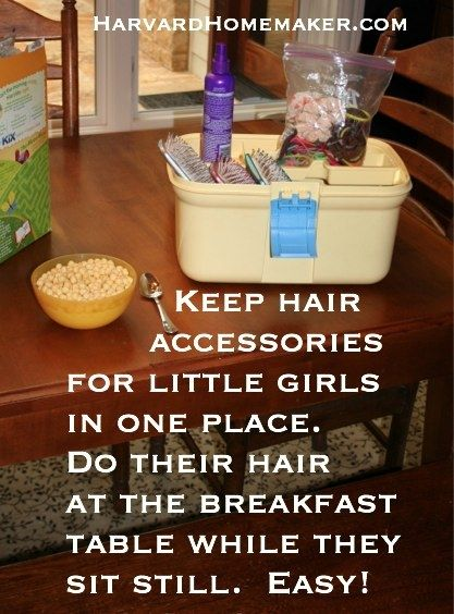 Do your little girls hate getting their hair done?!  Do it at the breakfast table while they are sitting still--this mom of four girls swears by this method!!  :)  More than 100 other tips to make life easier in this post!  #harvardhomemaker