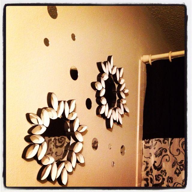 Marcos para espejos con rollitos de papel reciclar - Papel banos decoracion ...