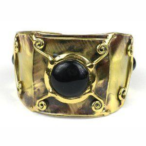 X Squared Black-Blue Tiger Eye Cuff (South Africa) Global Crafts. $49.95