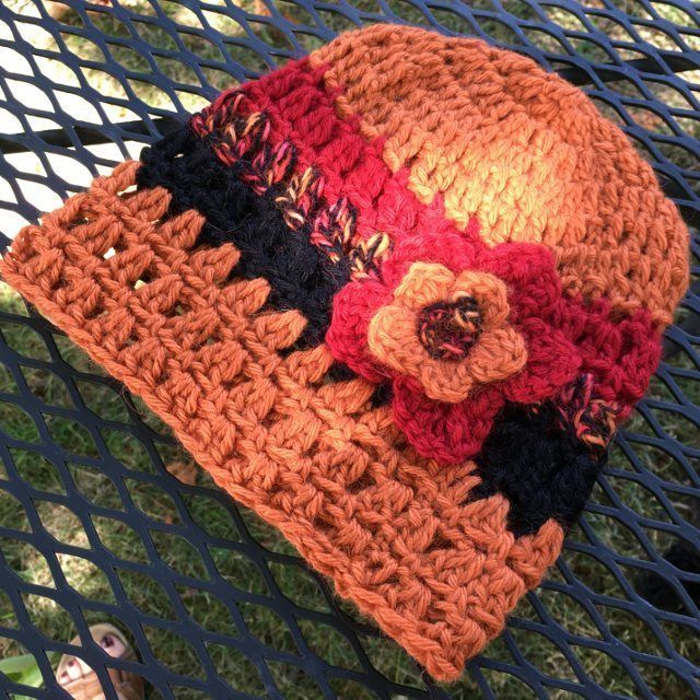 Alpaca Hat with Flower - Tiger Lily, $35.00