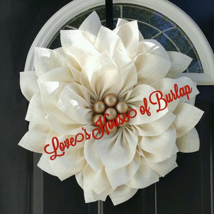 Christmas wreath, poinsettia wreath, Holiday wreath, Burlap flower, Burlap wreath, Flower wreath, Holiday decor, Christmas decor by Loveshouseofburlap on Etsy