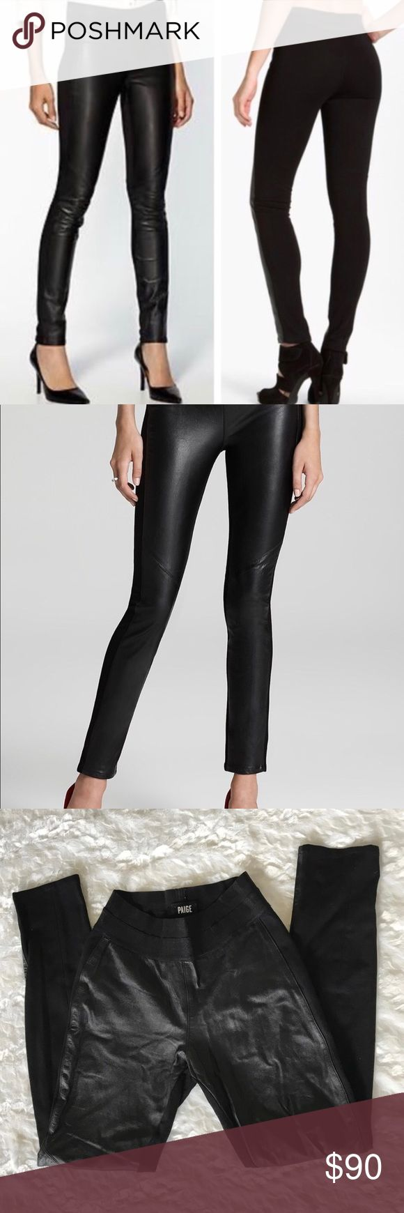 Paige Paloma Leather Leggings Paige Paloma genuine leather leggings. Motor detail. Beautiful leather front and thick legging material in back. Very flattering. I bought these here and only wore them once then got another pair for Christmas. In good shape. Size medium- true to size. PAIGE Pants Leggings