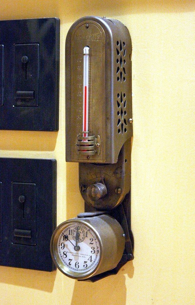 This old-school thermostat and clock combo. | 18 Steampunk Decor Flourishes That Will Make Any Room Badass