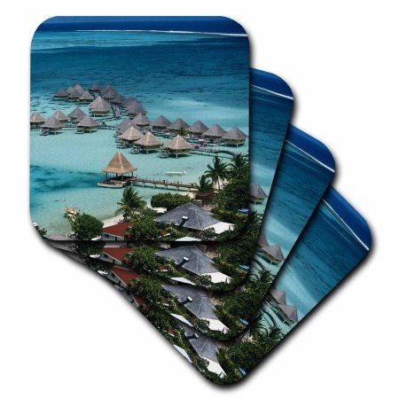 3dRose French Polynesia, Bora Bora, Taahina Bay and Beachcomber Hotel. , Ceramic Tile Coasters, set of 4