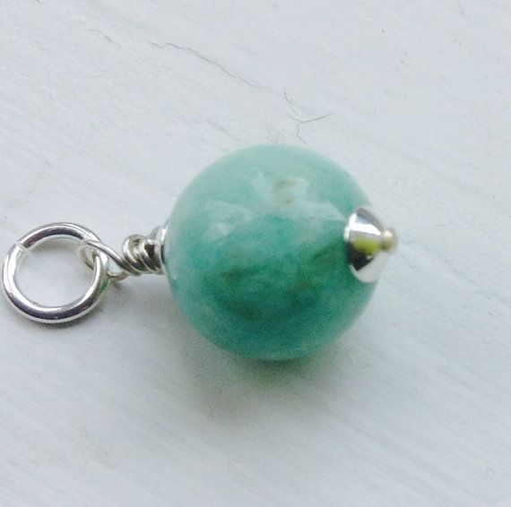 Wire Wrapped  Amazonite Pendant  Gemstone  Charm by MingJewelsChic