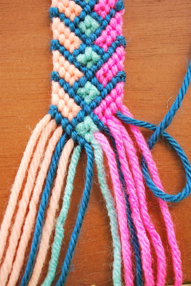 Hey Wanderer: the diy: Crazy Complicated Friendship Bracelet. Detailed instructions with photographs; in the example, the bracelet is made with yarn instead of embroidery floss.