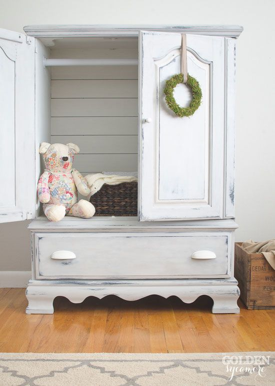 Media Cabinet Transformed into a Beautiful Painted Armoire (The Golden Sycamore) | Friday Favorites at www.andersonandgrant.com
