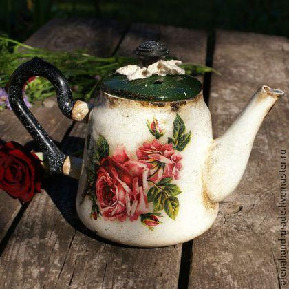 """Чайники, кофейники ручной работы. Ярмарка Мастеров - ручная работа Винтажный Чайник  """" Рози """",шебби шик. Handmade."""