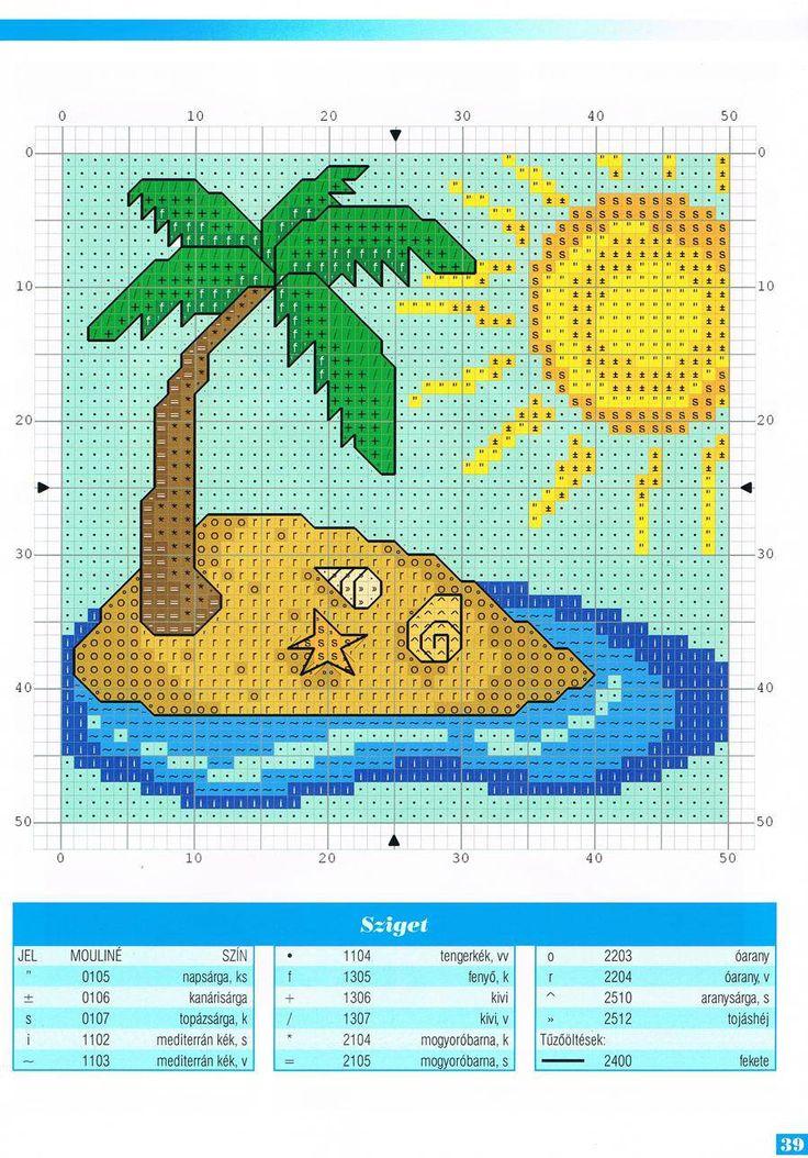 Palm Tree Beach Cross Stitch Landscape Cross Stitch