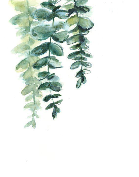 Eukalyptus-Druck-Set, grüne Blätter minimalistischen Satz von 3 Fine Art Prints, Blätter Aqua…