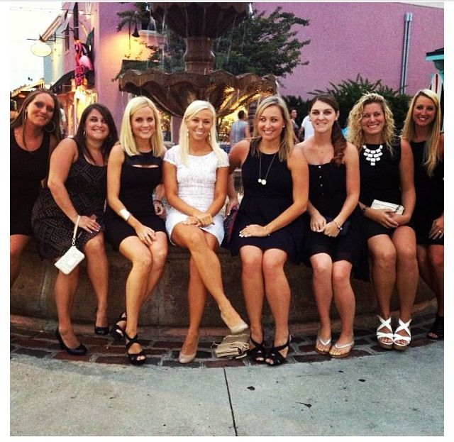 Love this idea for a bachelorette party :) bride in a cute white dress and everyone else in little black dresses!