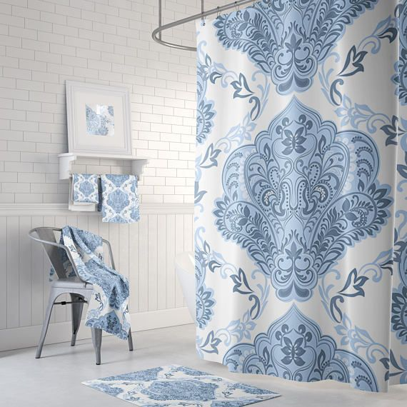 Shower Curtain -  Blue and White Damask Shower Curtain