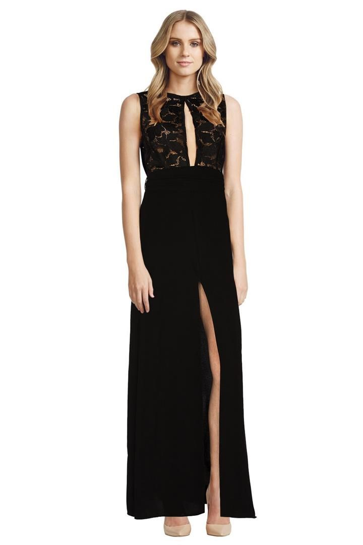 This beautiful floor-length dress by Assali features a contrasting lace bodice with a centre front keyhole. The waist is cinched with a belted tie to highlight a feminine silhouette. The skirt flares out with a front split coming up to the upper thigh. It is unlined to allow the lace to contrast strikingly against the skin. The dress will turn heads at your next evening event or function! Contrasting lace bodice with keyhole Cinched waist with belt tie Flared skirt with front split.