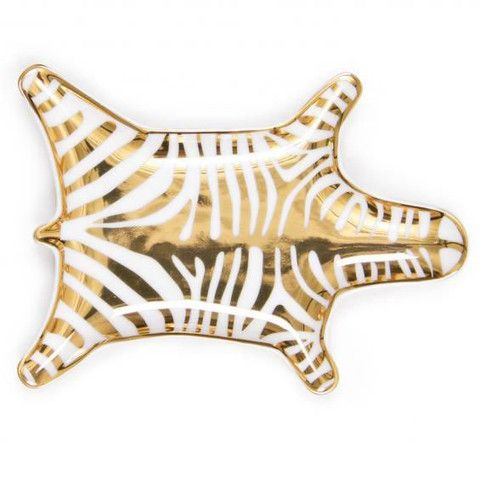 gold zebra dish
