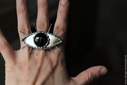 Crazy glass ring / Кольца ручной работы. Ярмарка Мастеров - ручная работа. Купить Глазище:) Крупный, витражный перстень для смелых особ:) Стекло, металл. Handmade.