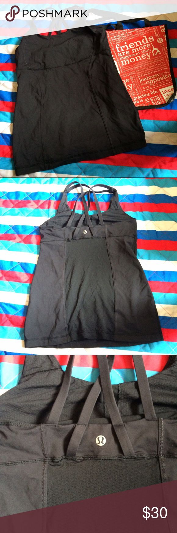 Lululemon Tank EUC...Lululemon Tank, with built in sport bra no padding, double cross back and super comfy, I couldn't locate size inside bra but it's a size 8...Price reflect brand and condition, ask any questions below before purchase, giving my best description cause I only have a set of eye, if I do miss anything I do apologize, low ball me and I will decline...no I don't model... lululemon athletica Tops Tank Tops