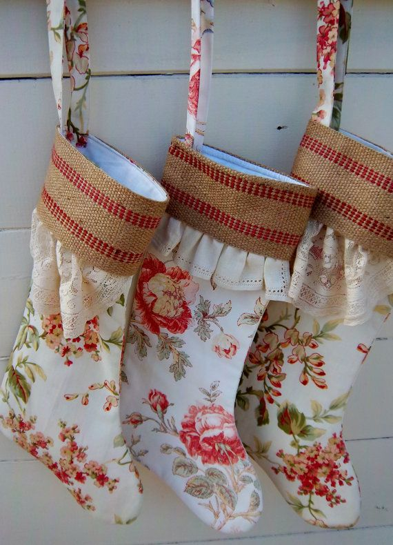 Custom Order  for Westtown/3 Christmas Stockings with French Country Linen/Lace Cuffs by Dreamy Vintage Sheets on ETSY