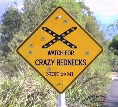This sign is confusing.  It takes low cognitive effort. but are you watching for rednecks on railroad tracks.