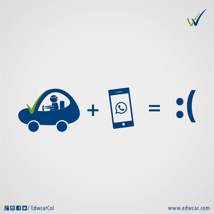 #VidaEnLaVía Don't text and drive. Mensaje de texto + conducir = :( Seguridad vial. Cultura Vial. Curso de conducción Bogotá. Aprender a manejar.