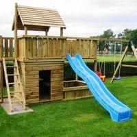 Tuinschommel en tuinhuisje voor kinderen