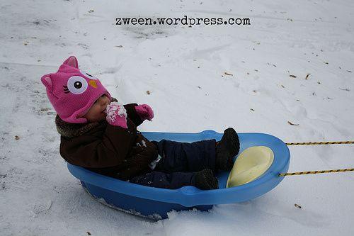 DIY baby sled from baby bathtub