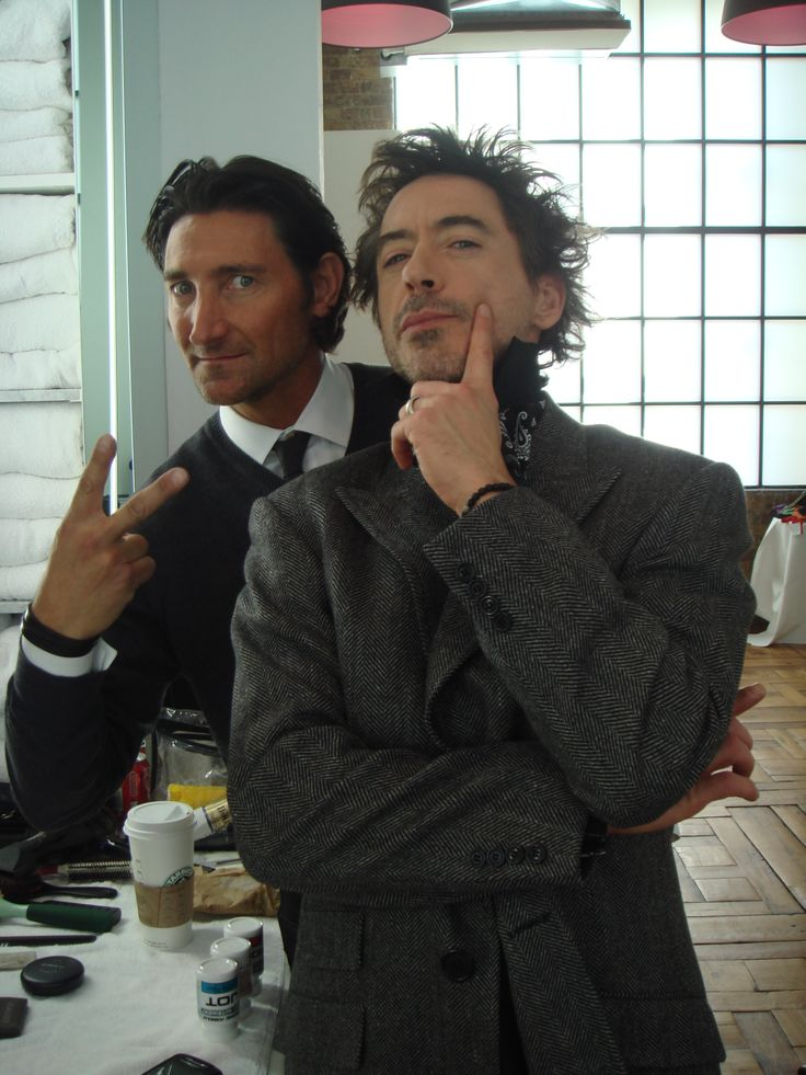 Robert Downey Jr & David Heil dressed in David August Lifestyle Outfitter custom clothing for Sherlock Holmes