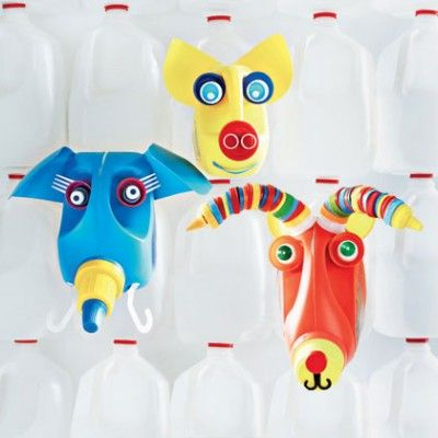 Add some fun and whimsy to the laundry room or even a playroom with these bright and cheery animal jug...
