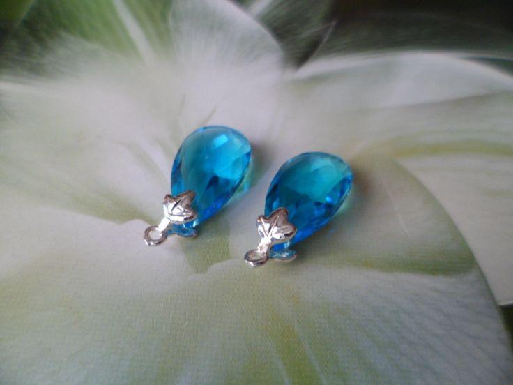 Paire des Gouttes Bleu Ciam Pour Boucles d`Oreilles : Perles en Verre par sidone