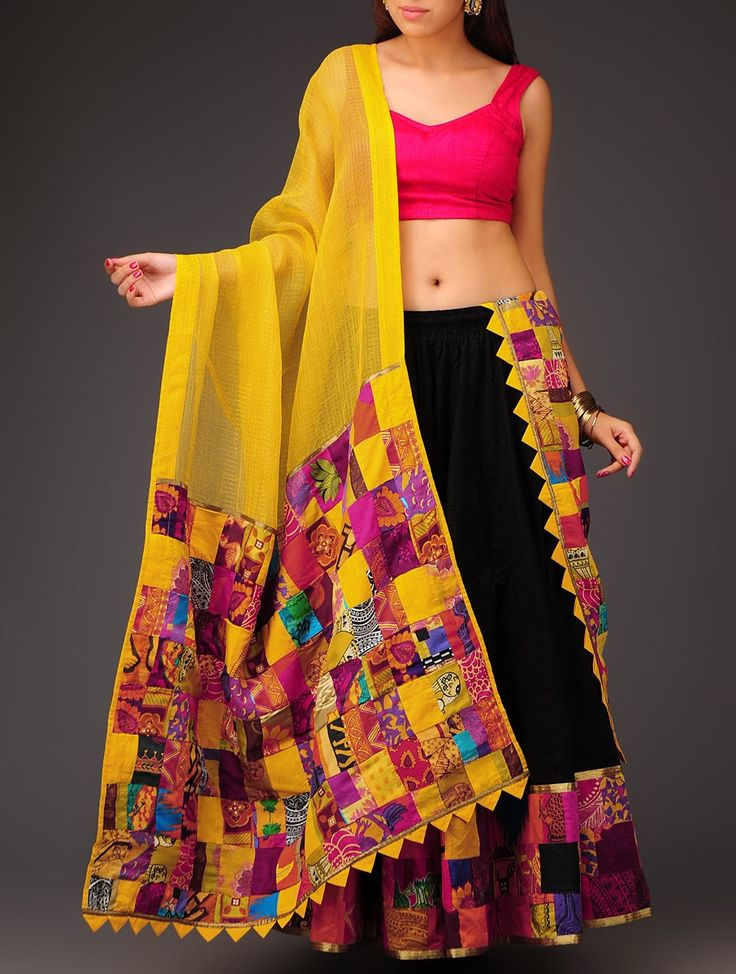 Buy Yellow Multi Color Patchwork on Kota Cotton Dupatta Accessories Dupattas Boheme Symphony Colorful Sarees Skirts Blouses and Online at Jaypore.com
