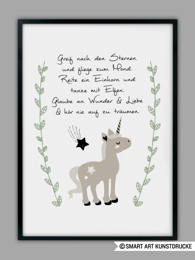 Kinderzimmerdeko: Bild mit Einhorn und motivierendem Spruch / childrens room decor: picture with unicorn and motivational saying made by Smart-Art-Kunstdrucke via DaWanda.com