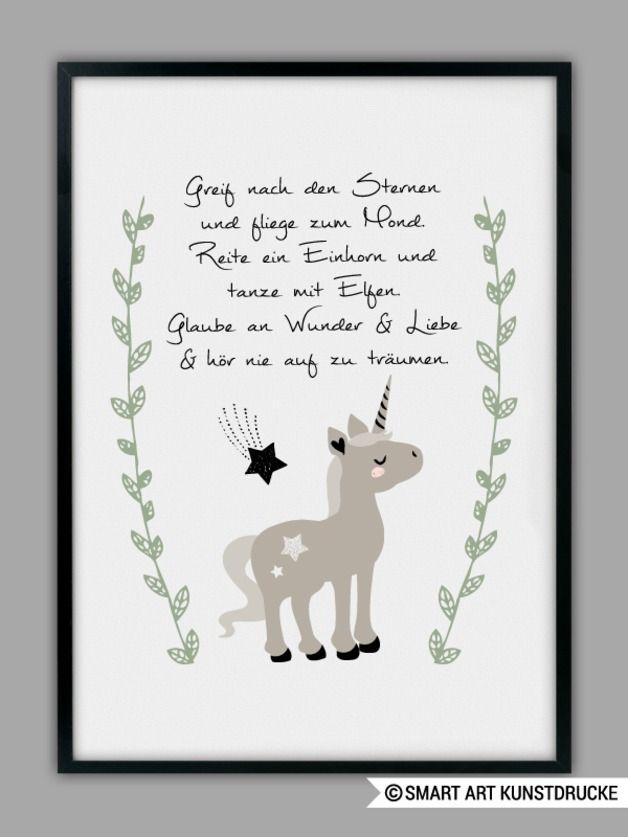 Kinderzimmerdeko: Bild mit Einhorn und motivierendem Spruch / childrens room decor: picture with unicorn and motivational saying made by Smart-Art-Kunstdrucke via DaWanda.com