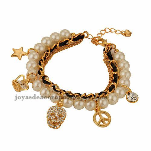 pulsera de perla con dije de craneo en acero inoxidable de dorado para…