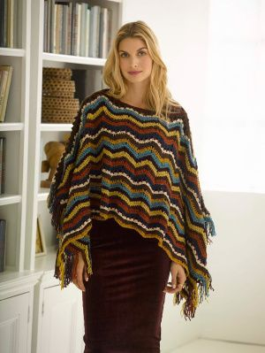 Made with Heartland and Vanna's Glamour®, this crochet poncho can be worn day or night.