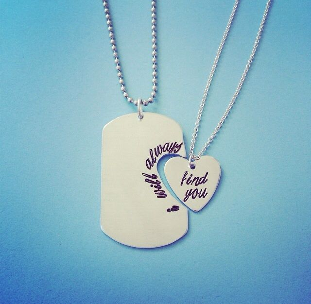 """I Will Always Find You Show White & Prince Charming Once Upon A Time Inspired Necklace Keychain Set Made In USA  You will receive a handmade jewelry set, stamped with the Prince Charming quote, """"I will always"""" and """"find you"""". Heart necklace's chain length measures 18"""". Dog tag option comes with..."""