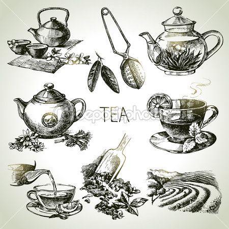 Tea. készlet — Stock Illusztráció #42063617