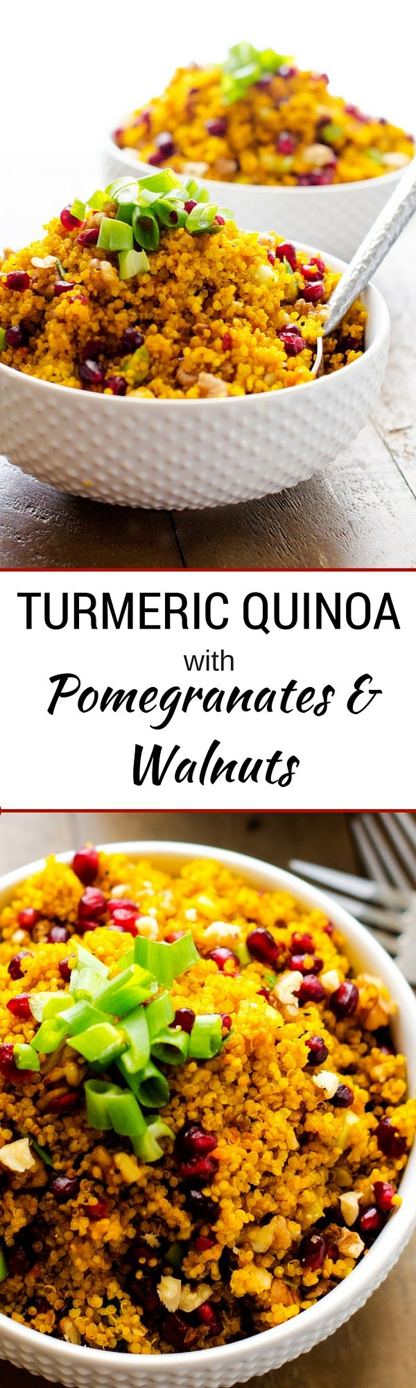 Turmeric Quinoa with Pomegranates and Walnuts (sponsored) - without the walnuts for me!