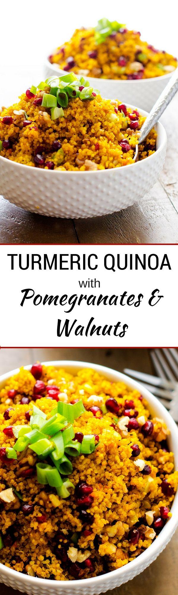 Turmeric Quinoa with Pomegranates and Walnuts   (sponsored)