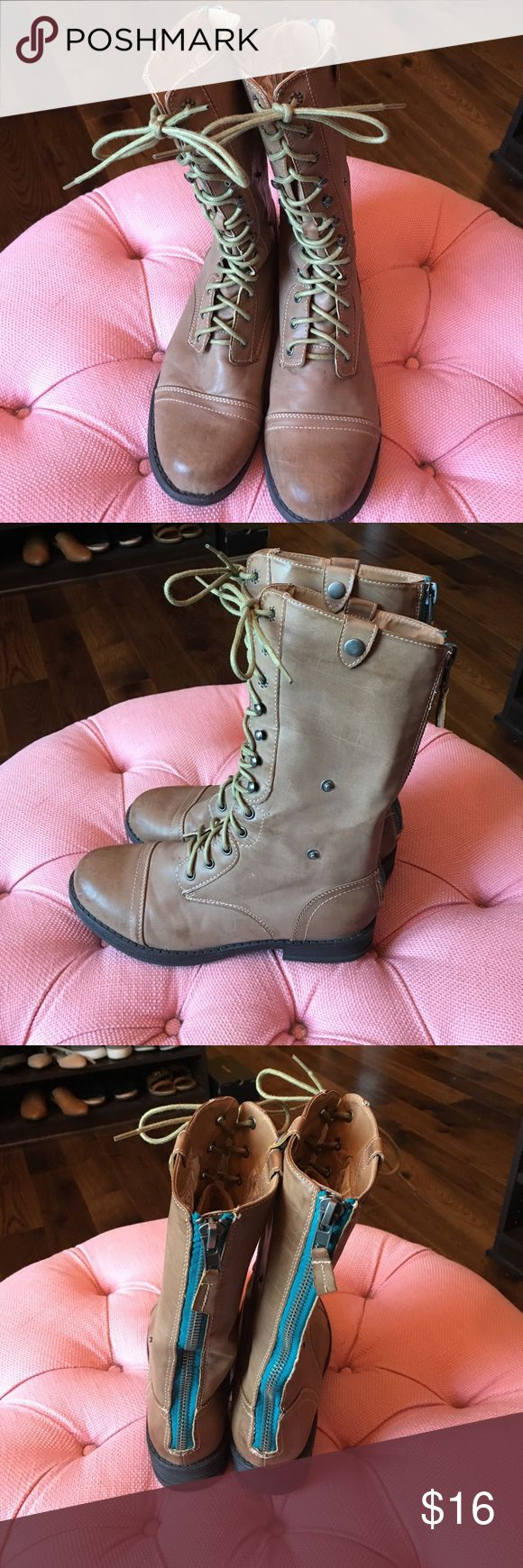 Tan Madden Girl Combat Boots Tan lace up combat boots with zipper detail in back. Very gently used. Love the edginess these add to any outfit. Madden Girl Shoes Combat & Moto Boots