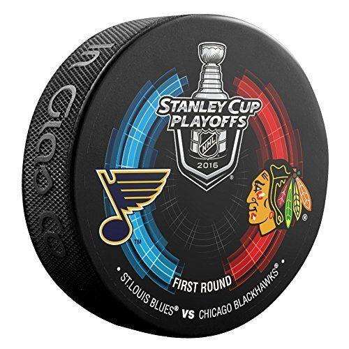 ST. LOUIS BLUES vs CHICAGO BLACKHAWKS 2016 Playoffs NHL DUELING LOGO PUCK NEW #InGlasCo #ChicagoBlackhawks