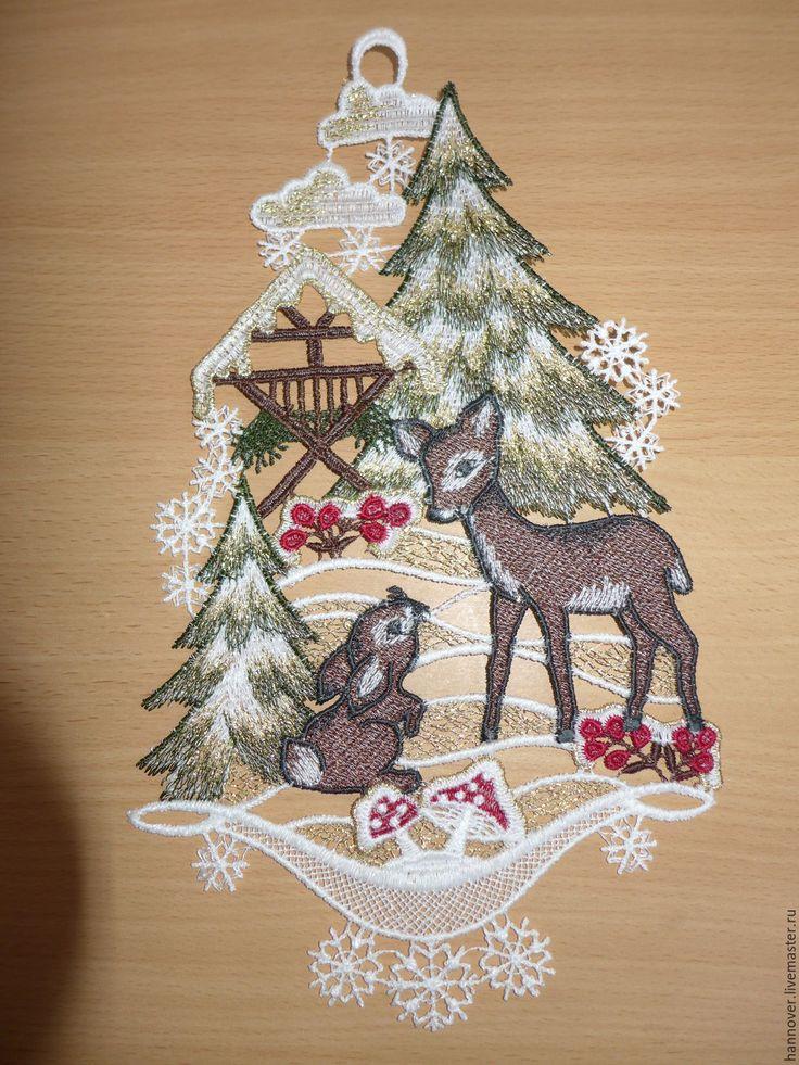 Купить Новогоднее украшение для дома «Олененок и зайчик. Разговор» - винтажн - комбинированный, картинка, новогодняя картинка
