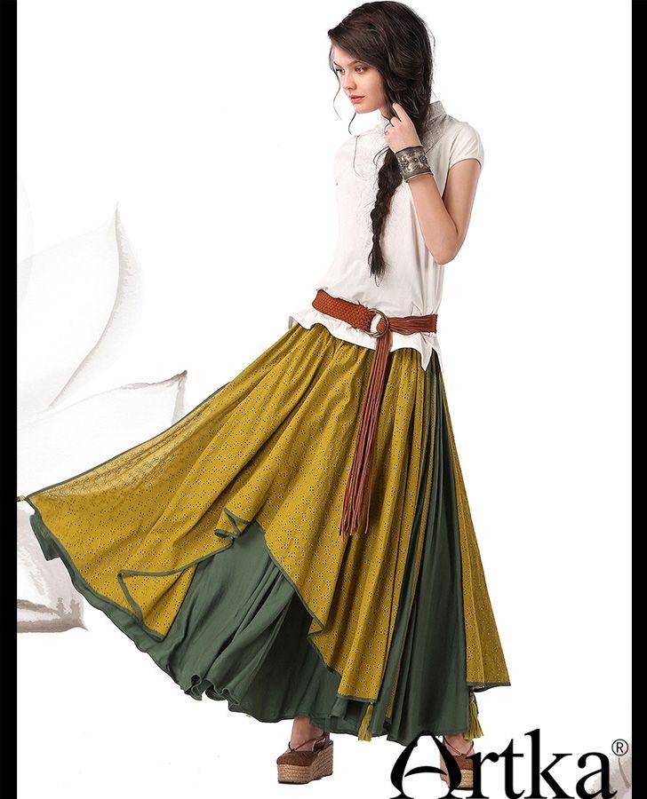 Длинная юбка в стиле бохо в несколько разноцветных слоев, 44677537154 купить за 8640 руб. с доставкой по России, Украине, Беларуси и миру   Юбки   Artka: интернет-магазин обуви и одежды Artka