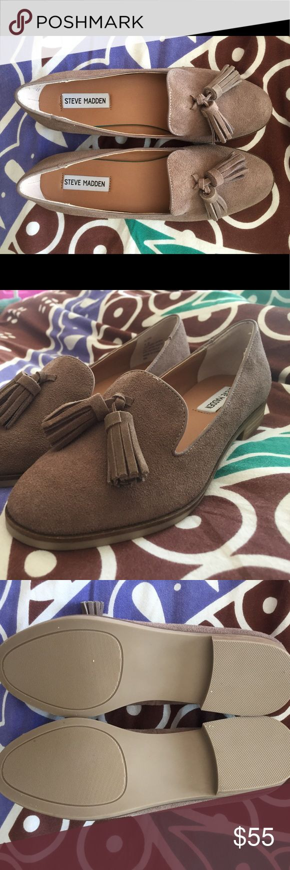 Steve Madden Alore Taupe Suede loafers - 7 1/2 Beautiful Steve Madden taupe suede loafers with tassels. Unworn and will come with box. Steve Madden Shoes Flats & Loafers