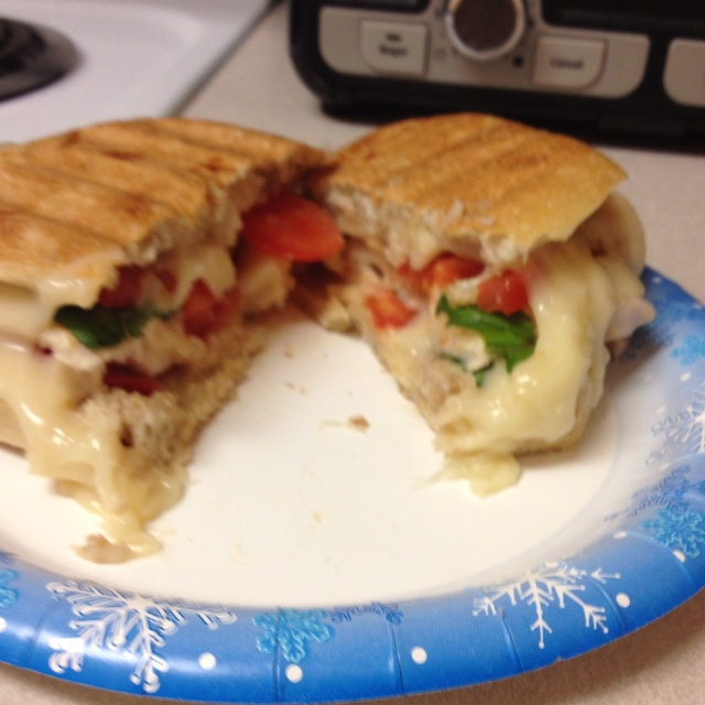 grilled chicken fresh mozzarella sliced tomato and a basil leaf grill ...