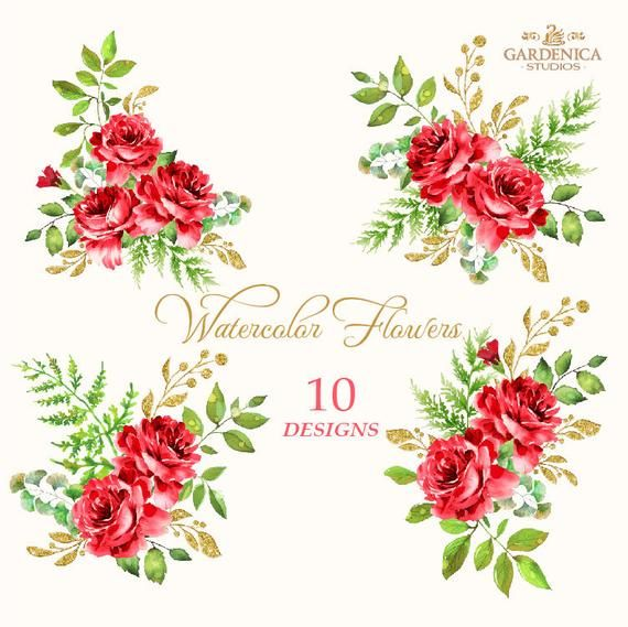 Red Roses Watercolor Clipart Red Flower Clipart Roses Etsy In 2021 Flower Clipart Red Roses Red Flowers