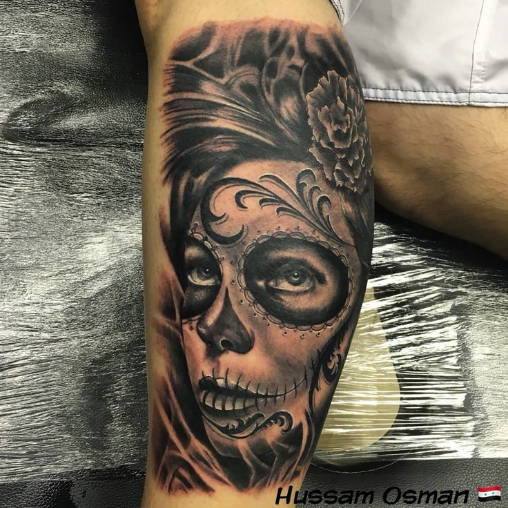 Day of the dead tattoo black and grey tattooist leg sleeve for Marvel sleeve tattoo black and white