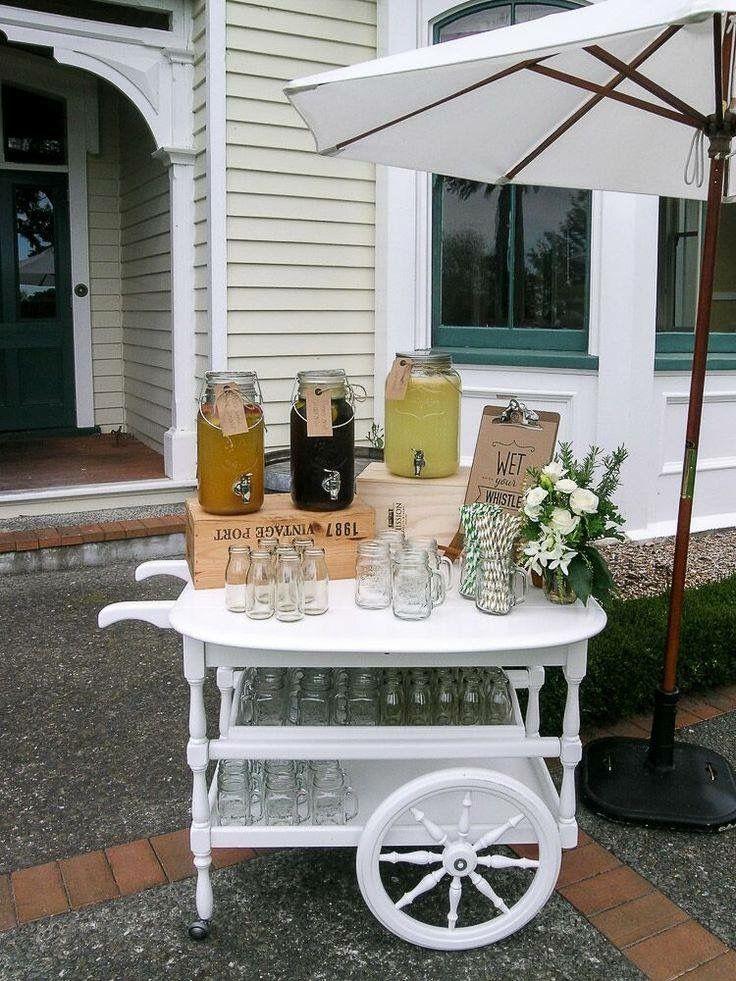 Vintage Tea Trolly at Mission Estate Winery #nzweddings #hawkesbayweddings #weddinghire #weddingsetup