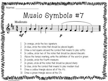 Music Symbols Worksheets This is a set of ten music worksheets. Students are asked to find various symbols in short musical examples. Worksheets vary in difficulty, allowing you to easily differentiate while keeping the basic assignment the same. On the last worksheet, students will come up with the questions and can trade papers with another student.